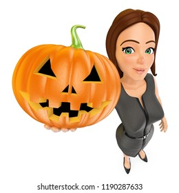 3d halloween people illustration. Business woman with a big pumpkin. Isolated white background.