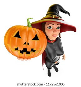 3d halloween people illustration. Witch with a big pumpkin. Isolated white background.