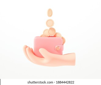 3D Hand holding wallet, coin stack, bills and credit card on isolate white background, money saving, online payment and payment concept. 3d render illustration