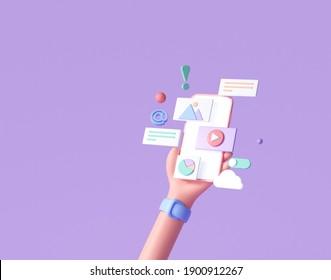 3D Handhold phone mobile app development, application building, app testing, UI-UX and web design. Abstract 3d object background. 3d render illustration