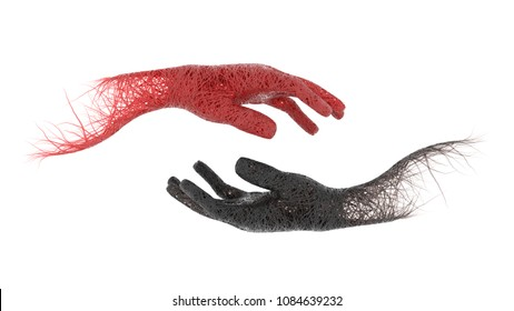 3d hands red blood veins and black blood veins on white background. Isolated with clipping path. 3D Illustration.
