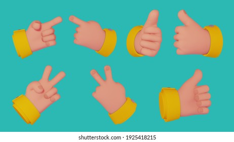 3D hands signs set. Thumb up, victory and pointing hand gestures isolated on bright background. Emoji stylized cartoon design elements for presentations, instructional videos or ads