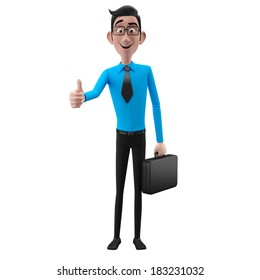 3d happy cartoon character, business man isolated on white background