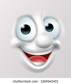 A 3D happy cartoon character emoticon face illustration