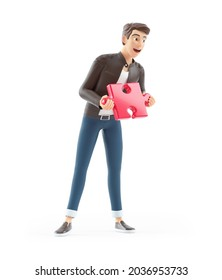 3d happy cartoon man holding piece of puzzle, illustration isolated on white background