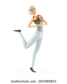 3d happy senior woman holding flower bouquet, illustration isolated on white background