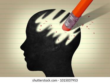 3d Head erased by pencil eraser