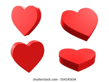3D heart boxes,isolated on white background