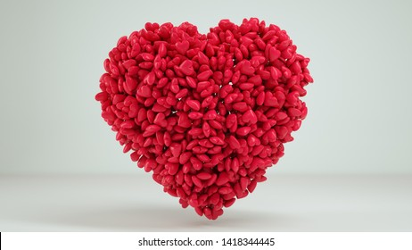 3D Heart White Background Render