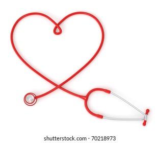 3d heart-shaped stethoscope