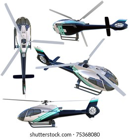 3d helicopter collection isolated on white