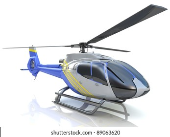 3d helicopter isolated on the white background