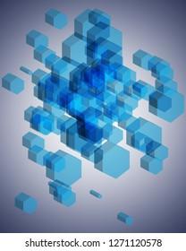 3D Hexagon Background, Geometric and Honeycomb shape