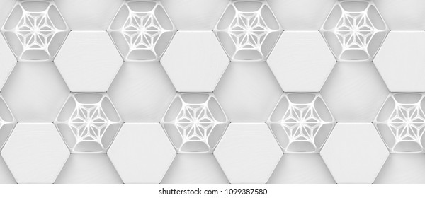 3D hexagon made of white painted wood with white grid decor. Material wood oak. High quality seamless realistic texture.
