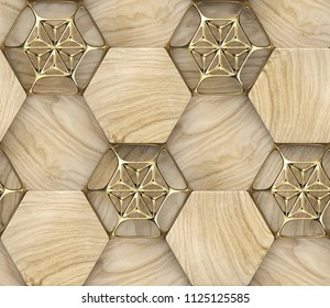 3D hexagon made of wood with gold decor. Material wood oak. High quality seamless realistic texture.