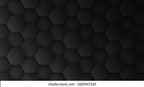 3D Hexagons Pattern Technology Dark Gray Minimalist Abstract Background. Concept Scientific Tech Hexagonal Blocks Structure Darkness Grey Wallpaper In Ultra High Definition Quality