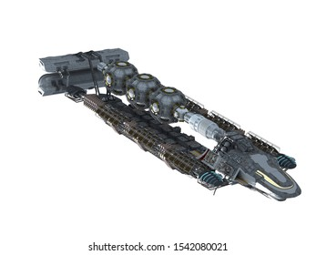 3D highly detailed alien spaceship for futuristic deep space travel or science fiction backgrounds with the clipping path included in the illustration.