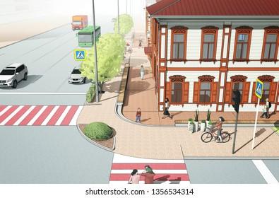 3d historical building on street