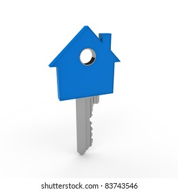 3d home key blue house metal security