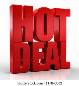 3D hot deal word on white isolated background