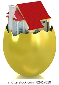 3d house appearing in broken golden egg shell