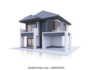 3d house isolated modern