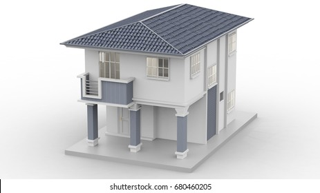 3d house isolated modern top view