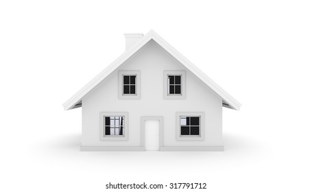 3D House isolated on white background. Front view
