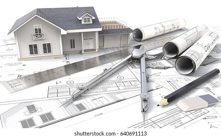3D House on Design Sketches and Blueprints. 3D House, drawings and sketches. Rolls, Ruler, Pencil, Eraser and Divider of metal. 3D render.