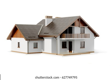 3d house plan on white background