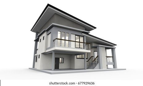 3d house rendering isolated on white background generic
