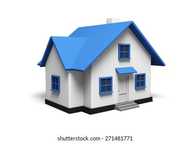 3D. House, Residential Structure, Three-dimensional Shape.