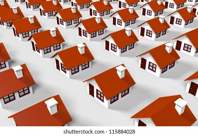 3d houses lined