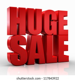 3D huge sale word on white isolated background