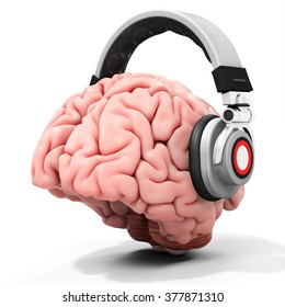 3d human brain with headphones on white background