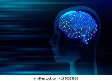3D Human brain medical digital illustration futuristic anatomy