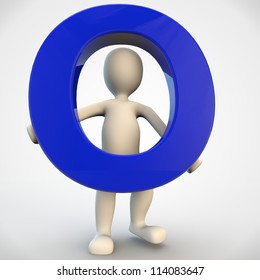 3D human character holding blue letter O, 3d render isolated on white