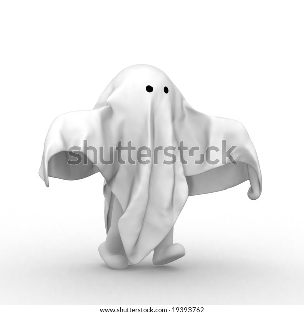 3d human with a clith like ghost