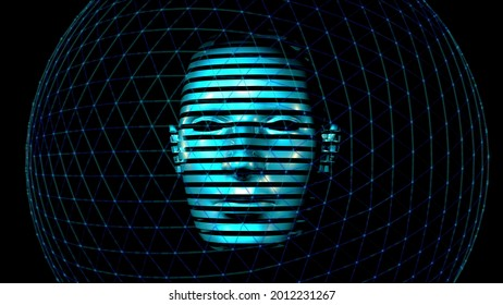 3D Human Head made of digital data. 4k Future recognition technology image