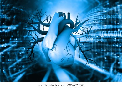 3d Human heart on abstract background