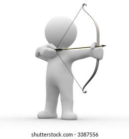 3d human prepare for shooting an arrow