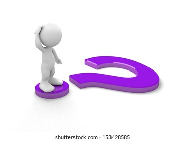 3d human with a question mark. 3d illustration.