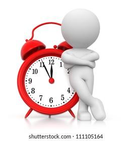3D human waiting with alarm clock