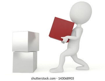 3d humanoid character hold a red box on white business success concept