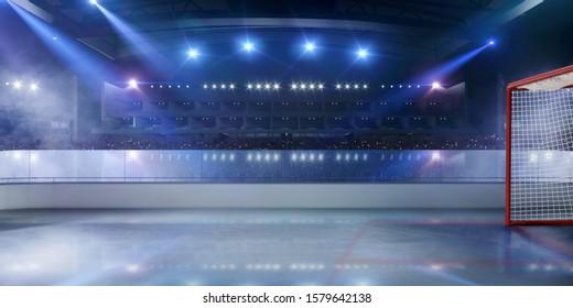 3-D ice hockey stadium. Rendering 3D.