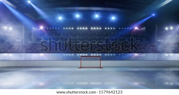 3-D ice hockey stadium. Rendering 3D.