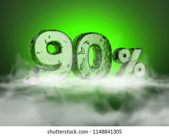 3 D Ice Number On Smoke Amidst Stock Illustration Royalty
