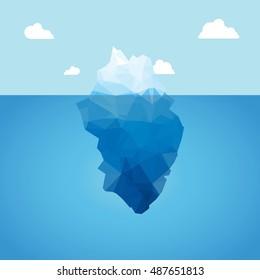 3d iceberg illustration concept. Success, clean blue cold sea or ocean concept