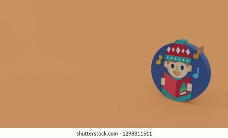 3d icon of boy singing christmas carol isolated on orange background