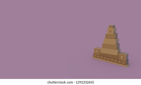 3d icon of great samarra mosque isolated on violet background